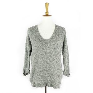 Madewell gray knit v-neck sweater, 3/4 sleeves, XS